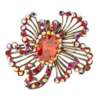 Vintage Flower With January Birthstone Red Crystal Brooches And Pins