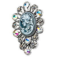 New Year Deals - antique vintage cameo brooches flower gray beauty ladies colorful crystal rhinestone pin brooch Image.