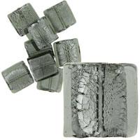 Murano Glass Jewelry - grey 19 x19 mm silver foil murano glass bracelet loose beads Image.
