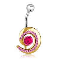 Body Jewelry - 316 l surgical steel gloden circle shape with october birthstone button belly navel rings Image.