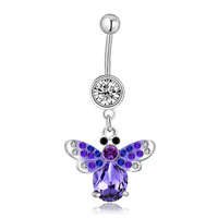 Body Jewelry - 316 l surgical steel purple butterfly shape with april birthstone button belly navel rings Image.