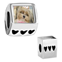 Items from KS - shih tzu dog photo heart fit all beads charms bracelets Image.