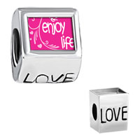 Charms Beads - enjoy life hearts photo love european beads Image.