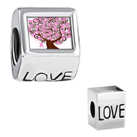 Charms Beads - breast cancer awareness pink ribbons tree photo engraved love beads charms bracelets Image.