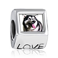 Charms Beads - husky dog fit all charm bracelets photo love european beads Image.