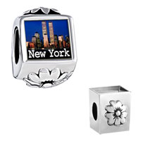 Charms Beads - gold plated travel new york city photo flower beads charms bracelets Image.