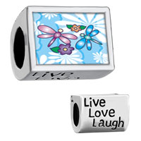 "Items from KS - words "" live love laugh""  with baby' s name and feet photo beads charms bracelets Image."