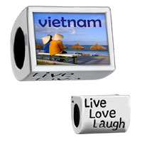 "Items from KS - words "" live love laugh""  with couple in vietnam photo beads charms bracelets Image."