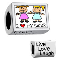 "Charms Beads - words "" live love laugh""  with sisters hand in and "" i my sister""  photo beads charms bracelets Image."