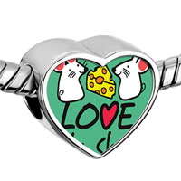 Items from KS - charming silver heart photo plated beads charms bracelets Image.
