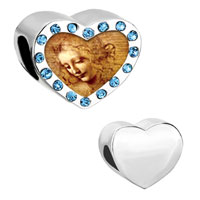 Charms Beads - heart photo aquamarine crystal da vinci picture beads charms bracelets Image.