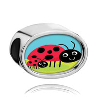 Charms Beads - red crystal mom black ladybugs insects mother child Image.