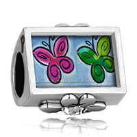 Charms Beads - clear crystal clover photo plated beads charms bracelets Image.