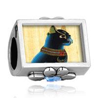 Charms Beads - aquamarine crystal clover photo plated beads charms bracelets Image.