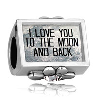 Charms Beads - i love you to the moon and back photo white crystal beads charms bracelets fit all brands Image.