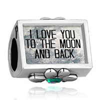 Charms Beads - i love you to the moon and back photo green crystal beads charms bracelets fit all brands Image.