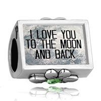 Charms Beads - i love you to the moon and back photo light green crystal beads charms bracelets fit all brands Image.