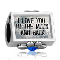 Charms Beads - i love you to the moon and back photo royalblue crystal beads charms bracelets fit all brands Image.
