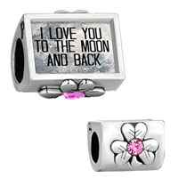 Charms Beads - i love you to the moon and back clover october stone fit charms bracelet Image.