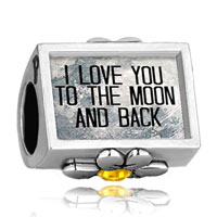 Charms Beads - i love you to the moon and back photo yellow crystal beads charms bracelets fit all brands Image.