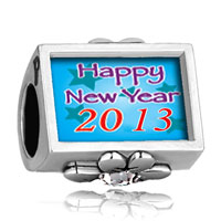 Charms Beads - clear crystal clover photo happy new year 2013  blue beads charms bracelets Image.