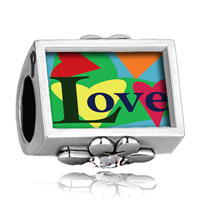 Charms Beads - word love colorful hearts photo engraved clover clear crystal beads charms bracelets Image.