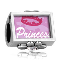 Charms Beads - word princess crown photo engraved clover clear crystal beads charms bracelets Image.