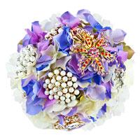 Royal Blue Bridal Wedding Bouquet Heirloom Crystal Dimond Pearl Brooch Pin