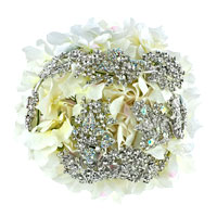 Clear White Bridal Wedding Bouquet Heirloom Crystal Dimond Pearl Brooch Pin
