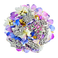 Purple And Blue Bridal Wedding Bouquet Heirloom Crystal Dimond Butterfly Brooch Pin