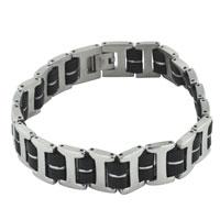 Bracelets - men's bracelet double rubber chain linked mens men's stainless steel bracelets cuff bangle bracelets Image.
