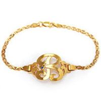 Bracelets - 925  sterling silver personalized initial 1  letter golden custom made chain bracelet Image.