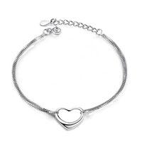 Sterling Silver Jewelry - 925 sterling silver open heart bracelets sideways heart love charms bracelets Image.