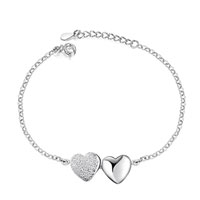 Sterling Silver Jewelry - fashion 925  sterling silver double heart link chain charms bracelet jewelry Image.