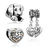 Mom Jewelry - 3  love bundle sets 22 k gold plated mother daughter heart puppy dog best mom beads charms bracelets fit all brands Image.