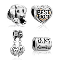 Mom Jewelry - 4  love bundle sets 22 k gold plated family life mother daughter heart puppy dog best mom beads charms bracelets fit all brands Image.