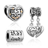 Mom Jewelry - 3  love bundle sets 22 k gold plated mother daughter heart best mom family life beads charms bracelets fit all brands Image.