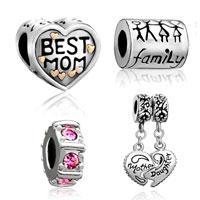 Charms Beads - 4  love bundle set 22 k gold plated best mom family life daughter spacer beads charms bracelets fit all brands Image.