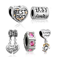 Charms Beads - 5  love bundle set 22 k gold plated best mom family life daughter spacer beads charms bracelets fit all brands Image.