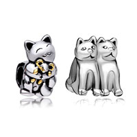 Charms Beads - 2  love bundle set 22 k gold plated cute smiling cats beads charms bracelets fit all brands Image.