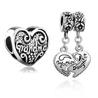 Charms Beads - 2  love bundle sets family life grandma mother daughter heart beads charms bracelets fit all brands Image.