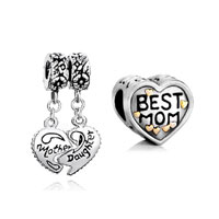 Mom Jewelry - 2  love bundle sets mom gift mother daughter heart dangle beads charms bracelets fit all brands Image.