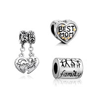 Charms Beads - 3  love bundle sets birthday gift mother daughter heart dangle beads charms bracelets fit all brands Image.