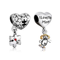 Mom Jewelry - 2  bundle set 22 k gold plated love mom heart puzzle piece dangle beads charms bracelets fit all brands Image.