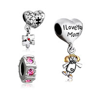 Charms Beads - 3  bundle set 22 k gold plated i love you mom pink cz spacer puzzle piece dangle beads charms bracelets fit all brands Image.