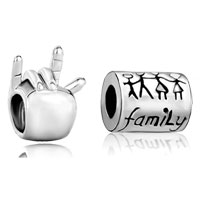 Charms Beads - 2  love bundle set silver i you hand sign family life beads charms bracelets fit all brands Image.