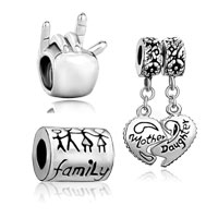 Charms Beads - 3  love bundle set i you hand sign family life mother daughter heart dangle beads charms bracelets fit all brands Image.