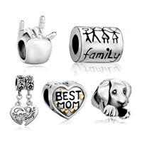 Mom Jewelry - 5  love bundle set 22 k gold plated best mom sign family life puppy dog beads charms bracelets fit all brands Image.