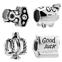 Sterling Silver Jewelry - 4  pc 925  sterling silver set goodluck fits beads charms bracelets fit all brands Image.