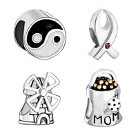 Sterling Silver Jewelry - 4  pc 925  sterling silver set jewelry fits beads charms bracelets fit all brands Image.